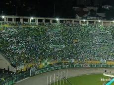 Tentativa de mosaico do Palmeiras na partida contra o Santos. Twitter @Oledobrasil