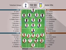 Tottenham v Aston Villa, Premier League 2019/20, matchday 1, 10/8/2019 - Official line-ups. BESOCCER