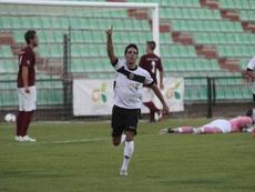 Troiteiro celebrando un gol con el Mérida. Twitter.