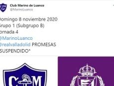 El club pucelano informó la semana pasada de tres casos positivos. Twitter/MarinoLuanco