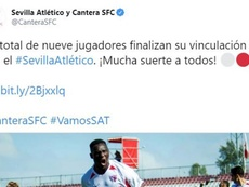 El Sevilla ya planifica la próxima temporada del filial. Twitter/CanteraSFC