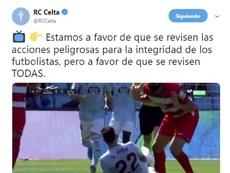 El Celta pidió igualdad en el VAR. Twitter/RCCelta