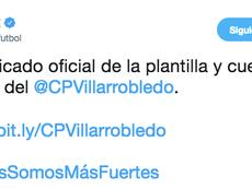La AFE, muy pendiente del caso del Villarrobledo. Twitter/afefutbol