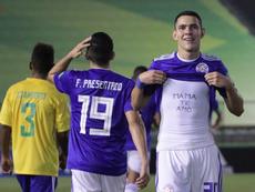 Un jugador de Paraguay Sub 17 celebra un tanto en la goleda a Islas Salomón. Twitter/Albirroja