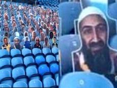 La photo de Ben Laden apparaît parmi les pancartes du stade de Leeds. Captures/Twitter/LfcWrighty