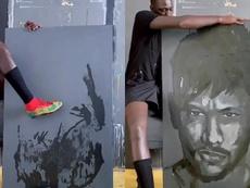 El conocido artista Bou Bou se atrevió a dibujar el rostro de Neymar. Twitter/boubou_design