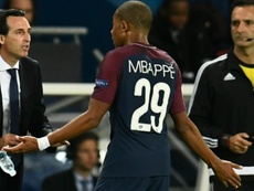 Unai Emery and  Kylian Mbappé at PSG. AFP