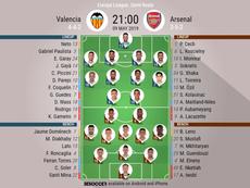 Valencia v Arsenal, Europa League 2018/19, semi-final 2nd leg - Official line-ups. BESOCCER