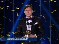 Victor Lindelof awarded Swedish Footballer of the Year 2018. Captura/Kanal4