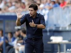 Víctor Sánchez del Amo atendió a los medios tras el empate en Anduva. MalagaCF