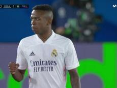 Vinicius puso el 1-0 en el marcador. Captura/MovistarLaLiga