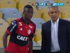 Vinicius participó en los dos goles de la remontada local. Captura