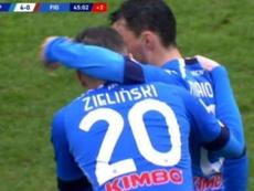 Zielinski hizo uno de los goles. Captura/MovistarLigadeCampeones