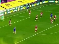Ziyech scored for Chelsea. Screenshot/DAZN