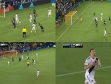 Zlatan Ibrahimovic adelantó a los Galaxy con un gol mezcla de suerte y oportunismo. Twitter/LAGalaxy
