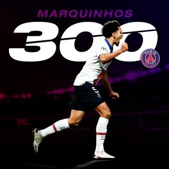 Marquinhos, 300 partidos oficiales PSG, 14/01/2021
