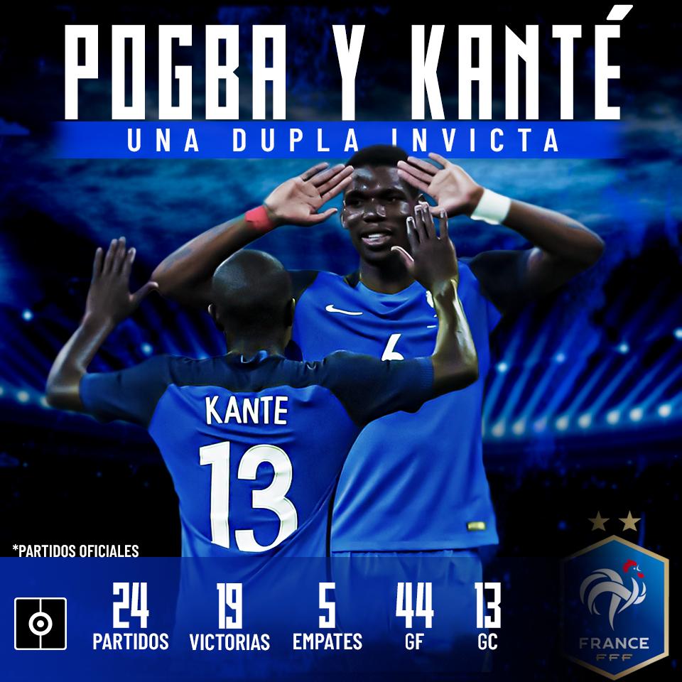 Pogba y Kanté, invictos en partidos oficiales con F