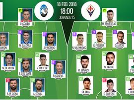 As escalações de Atalanta e Fiorentina para este jogo. Besoccer