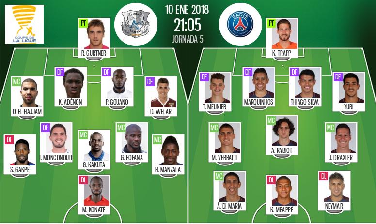 Les compos officielles du match de Coupe de la Ligue entre Amiens et le PSG. BeSoccer