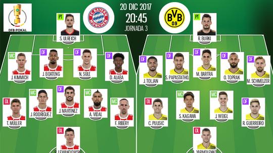 As escalações de Bayern Munique e Borussia Dortmund para este jogo. BeSoccer