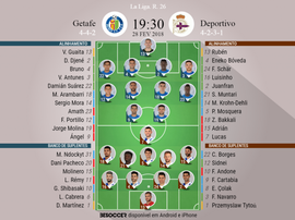 As escalações de Getafe e Deportivo para este jogo. BeSoccer