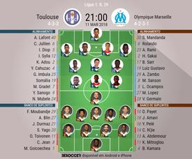 As escalações de Toulouse e Marseille para este jogo. BeSoccer