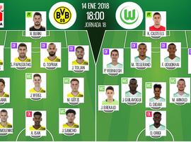 As escalações de B. Dortmund e Wolfsburg para este jogo. BeSoccer