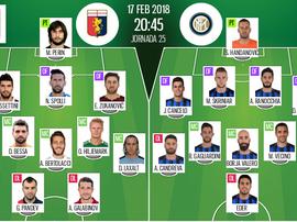 As escalações de Genoa e Inter apra este jogo. BeSoccer