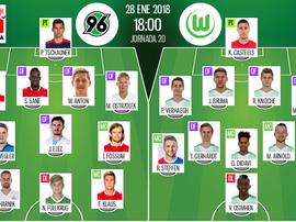 as escalações de Hannover 96 e Wolfsburgo para este jogo. BeSoccer