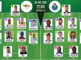 Les compos officielles du match de Liga NOS entre Moreirense et Porto. BeSoccer