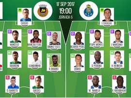 As escolhas iniciais de Rio Ave e FC Porto para esta partida da Liga NOS. BeSoccer
