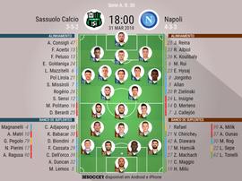 As escalações de Sassuolo e Napoli para este jogo. BeSoccer