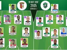 Os 11's de Sp. Braga e Ludogorets para este jogo da Liga Europa. BeSoccer