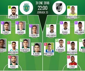 Les compos officielles du match de Liga NOS entre le Sporting et le Vitoria Guimaraes. BeSoccer