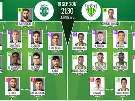 As escolhas iniciais de Sporting CP e Tondela, para este jogo da Liga NOS. BeSoccer