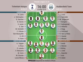 As escalações de Tottenham e Huddersfield para este jogo. BeSoccer