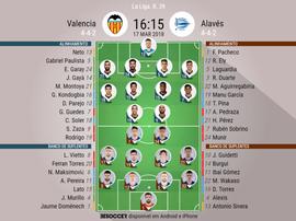 As escalações de Valencia e Alavés para este jogo. BeSoccer