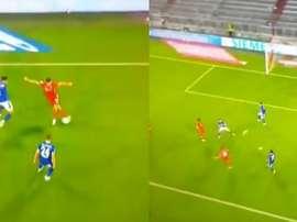 Lewandowski asistió a Müller para el 6-0... ¡de rabona! Captura/MovistarLigaDeCampeones