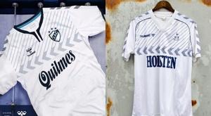 Le maillot de Quilmes de 2019 et le maillot de Tottenham des années 80. Hummel/ClassicFootballShirts
