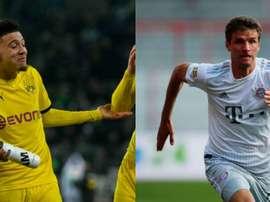 Jadon Sancho e Thomas Müller farão um duelo de assistêntes. AFP