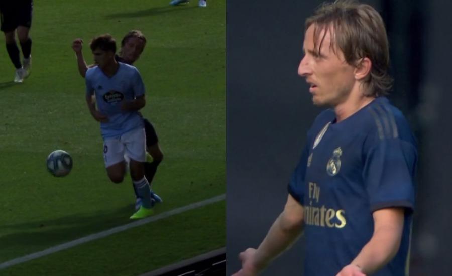 Modric se defiende de su expulsión en Balaídos