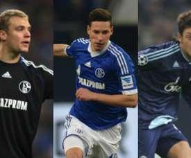 A la izquierda, Manuel Neuer; en el centro, Julian Draxler; a la derecha, Mesut Özil. AFP
