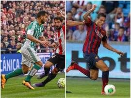 Martin Montoya à gauche ; Cristian Tello à droite. EFE/FCBarcelona/BeSoccer