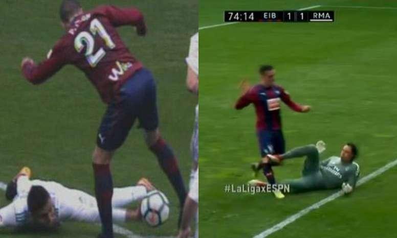 Casemiro y Keylor pudieron hacer penalti. Twitter/LaLigaxESPN