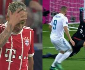 Erros defensivos custaram caro ao Bayern. Twitter/Captura