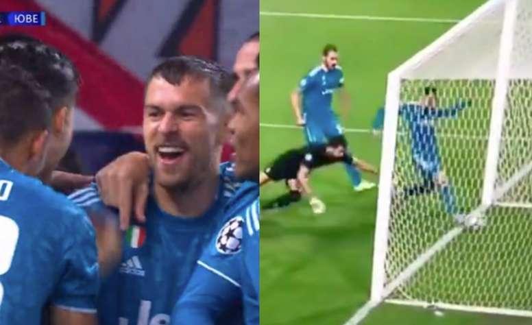 It was Ramsey's goal. Screenshots/MovistarLigaDeCampeones