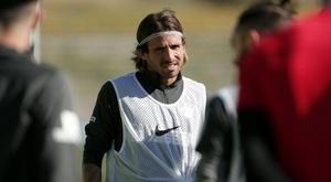 Aarón Ñíguez se ejercitará en casa, como el resto. MálagaCF