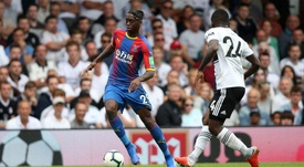 Aaron Wan-Bissaka on the ball during the 2018/19 Premier League clash with Fulham. CPFC