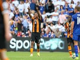 Abel Hernández celebra el primer gol del Hull City ante el Leicester. ESPN