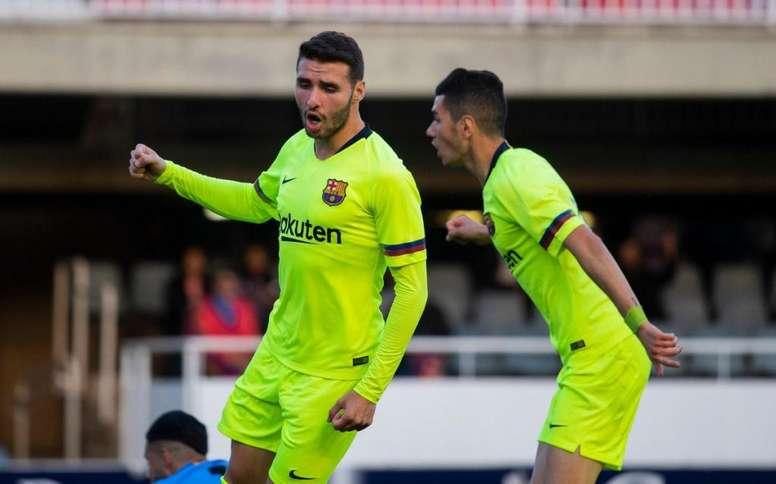 Abel Ruiz, entre salir y quedarse. Twitter/FCBarcelonaB